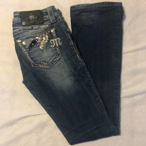 Miss me boot cut jeans with sequin feather detail